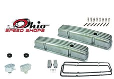 Ohio Speed Shops OSS-6186P SBC Short Polished Finned Valve Cover Package