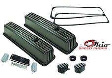 Ohio Speed Shops OSS-6191B SBC Tall CTR-Bolt Black Finned Valve Cover Package