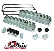 Ohio Speed Shops OSS-6196P SBC Short CTR-Bolt Polished Finned Valve Cover Package