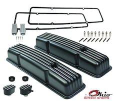 Ohio Speed Shops OSS-6186B SBC Short Black Finned Valve Cover Package