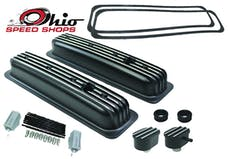 Ohio Speed Shops OSS-6196B SBC Short CTR-Bolt Black Finned Valve Cover Package