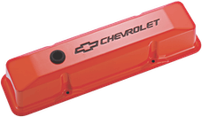 Proform 141-118 CHEVROLET and BOWTIE EMBLEM DIE-CAST VALVE COVERS, RECESSED EMBLEM, ORANGE