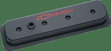 Proform 141-131 Engine Valve Covers; Center Bolt Style; Die Cast; Black w/ Bowtie Logo; SB Chevy