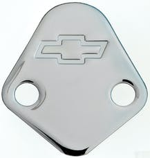 Proform 141-211 Fuel Pump Block-Off Plate; Chrome with Bowtie Logo; Fits BB Chevy V8 Engines