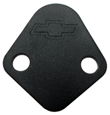 Proform 141-213 Fuel Pump Block-Off Plate; Blk Crinkle with Bowtie; Fits BB Chevy V8 Engines