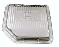Proform 141-250 Transmission Oil Pan; GM Logo; Chrome; GM Turbo 350 Trans; Drain Plug Included