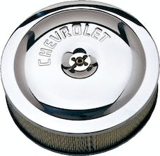 Proform 141-315 Air Cleaner Kit; Chrome; Embossed Chevy Logo; 10 In. Diameter; With Center Nut