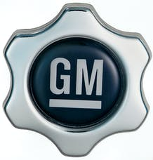 Proform 141-631 Engine Oil Filler Cap; Chevy Style Valve Cover Hole; White on Blue GM Logo