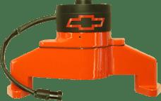 Proform 141-675 Electric Engine Water Pump; Aluminum; Orange with Bowtie Logo; Fits BB Chevy