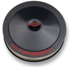 Proform 141-713 Engine Air Cleaner Kit; Carbon-Style; 14 In; Aluminum; Black; Bowtie,Chevy Logo
