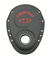 Proform 141-753 Timing Chain Cover; Black; Steel; With Chevy and Bowtie Logo; For SB Chevy 69-91