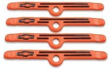 Proform 141-782 Engine Valve Cover Holdown Clamps; Orange with Black Bowtie Logo; SB Chevy; 4 Pc