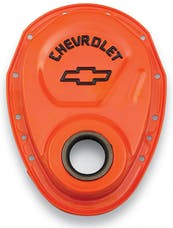 Proform 141-783 Timing Chain Cover; Orange; Steel; With Chevy Bowtie Logo; SB Chevy 69-91