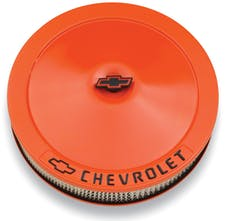 Proform 141-785 Engine Air Cleaner Kit; 14 Inch Dia; Orange; Chevy Black Lettering w/Bowtie Logo