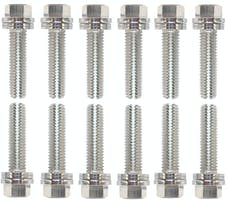 Proform 66755 Wedge-Locking Header Bolts; Hex Head; M8 X 1.181in; Chevy LS; Nickel Plt; 12 Pcs