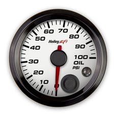 Holley EFI 553-127W 2-1/16 OIL PRESSURE GAUGE; 0-100PSI; CAN; WHITE