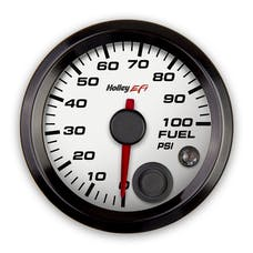 Holley EFI 553-129W 2-1/16 FUEL PRESSURE GAUGE; 0-100PSI; CAN; WHITE