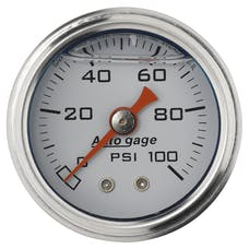 AutoMeter Products 2177 Auto Gage Series Dampened-Movement Pressure Gauge (White, 0-100 PSI, 1-1/2 in.)