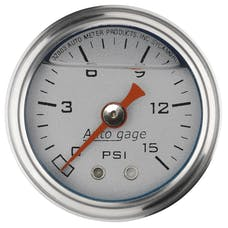 AutoMeter Products 2178 Auto Gage Series Dampened-Movement Pressure Gauge (Silver, 0-15 PSI, 1-1/2 in.)