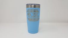 Light Blue Poweder Coated 20oz Toys For Trucks Tumbler w/Ring Grip