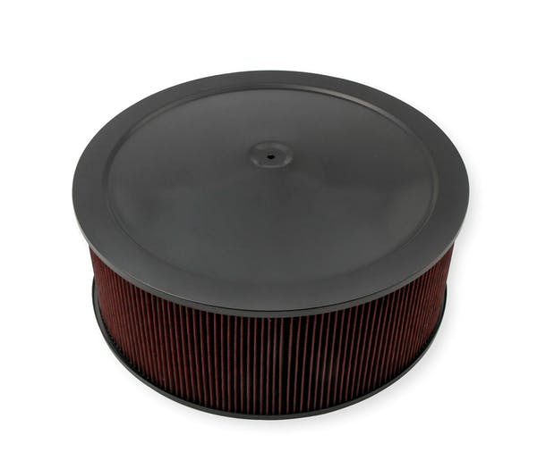 """Holley 120-4260 4150 Drop Base Air Cleaner Assembly Black W/6"""" Red Washable Gauze Filter"""
