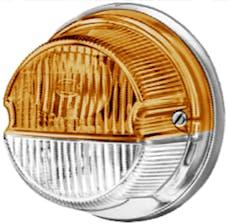 Hella Inc 001259061 1259 Amber/White Turn/Side Marker Lamp with Chrome Base
